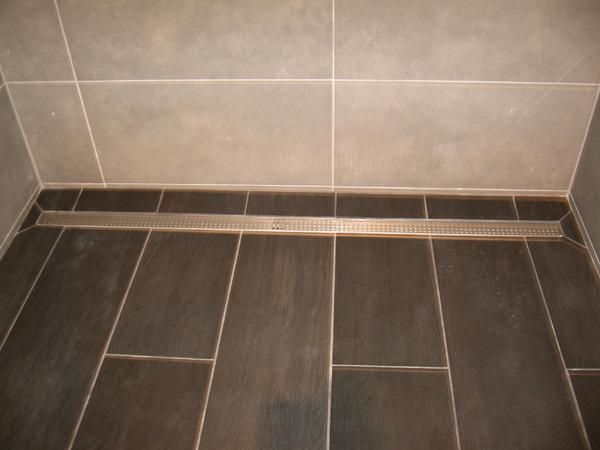 Long tile shower with linear drain - Ceramic Tile Advice ...