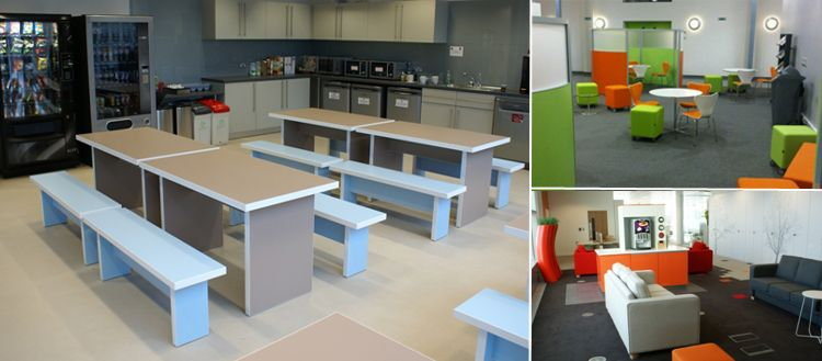 office kitchen and breakout area furniture including