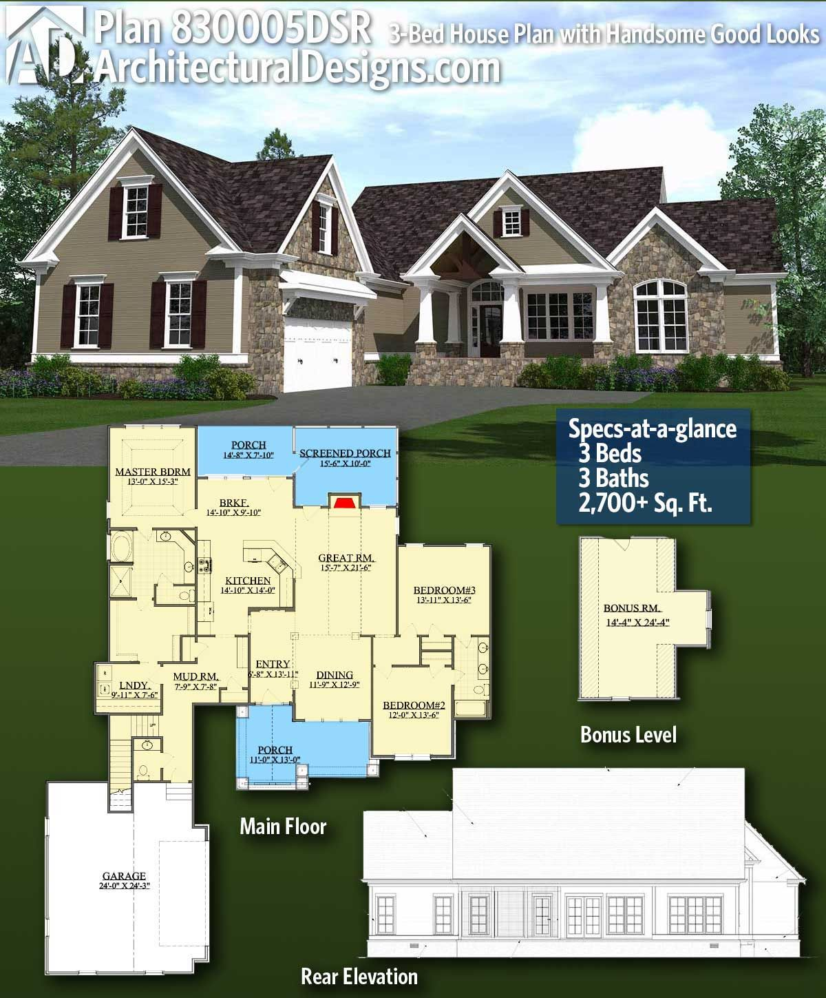 Plan 14632rk Rugged Craftsman With Room Over Garage: Plan 830005DSR: Handsome Good Looks In 2019