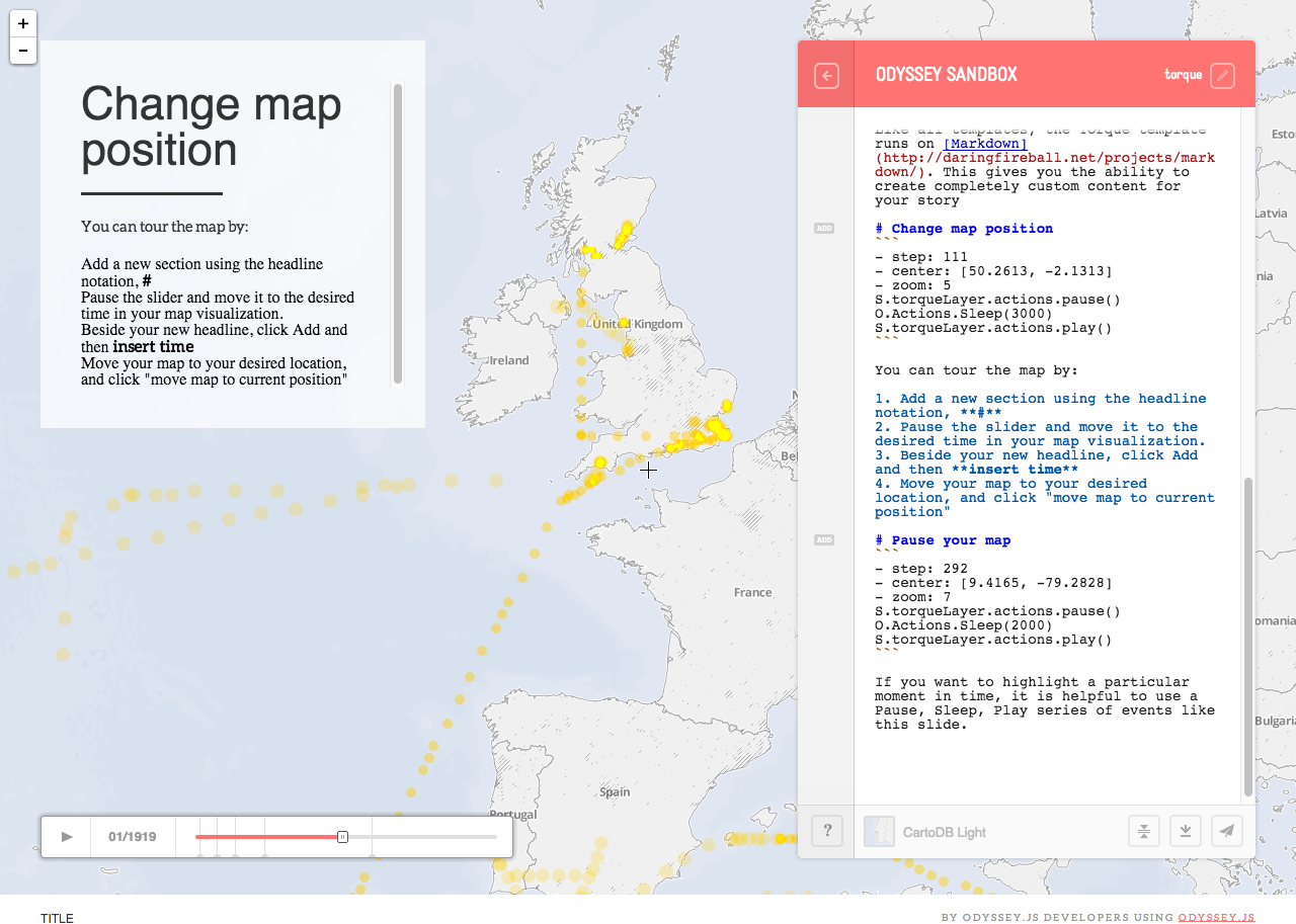 Narrative on geographical maps, slides by slides from
