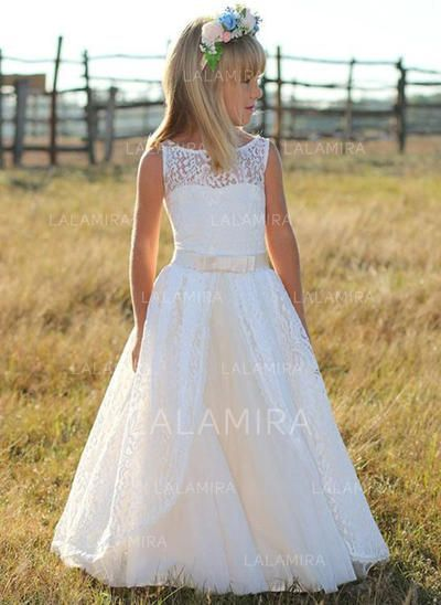 eb556e502 [US$ 79.99] A-Line/Princess Scoop Neck Floor-length With Sash Tulle/Lace  Flower Girl Dress (010210964)