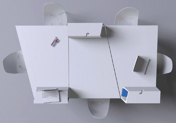 Interesante tipologia: RoTable is a table for creative people. It was created for designers and their dynamic style of working. Rotary shelf allows you to work in a standing position and the unusual shape of the tabletop provides a combination of different positions. It can be arranged easily for a group meeting or conference, equally it can be divided into individual workspaces.