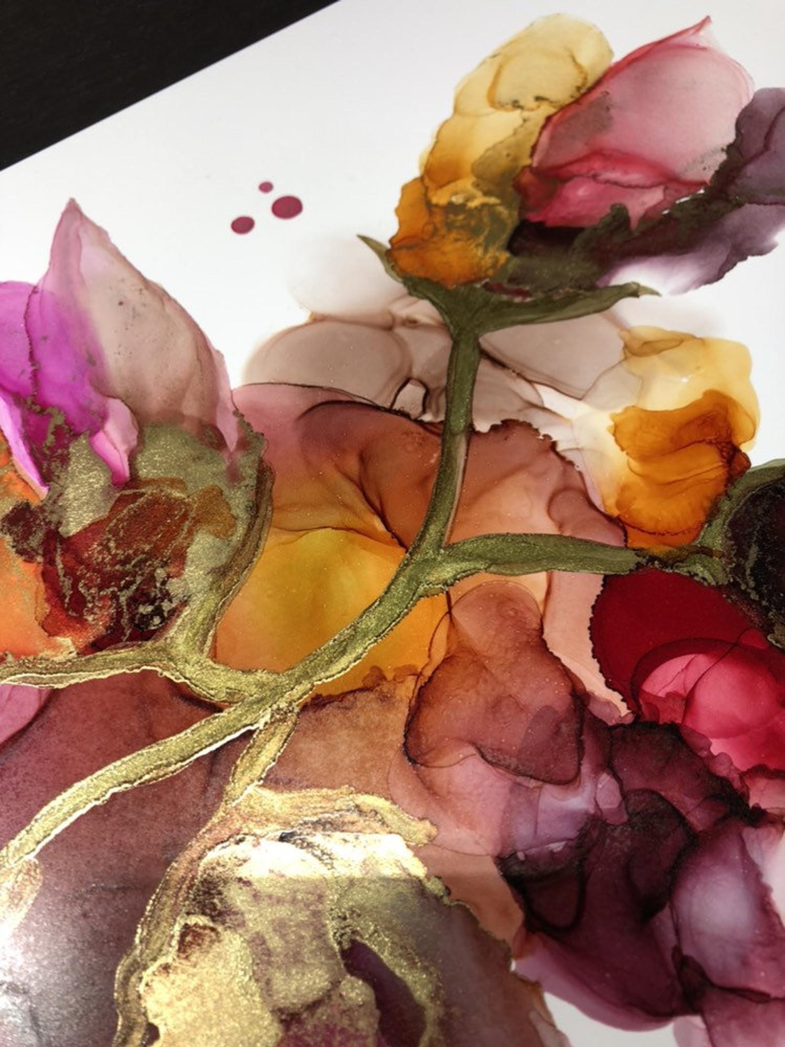 Original Art Original Alcohol Ink Alcohol Ink Floral