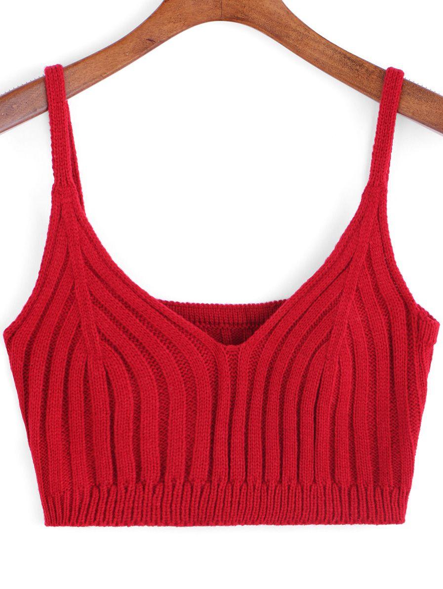ebe1ebd54a86e Red Spaghetti Strap Knit Cami Top