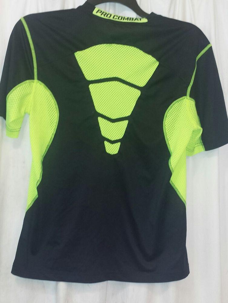 5334a7552 Nike Pro Combat DriFit Shirt Black Volt Green Mens Medium HyperCool 2  449841 #Nike #ProCombatHypercool20