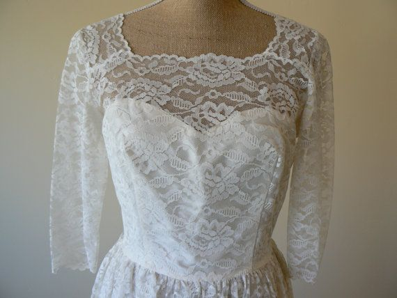 1950s Lace wedding dress by PersimmonandFigs on Etsy