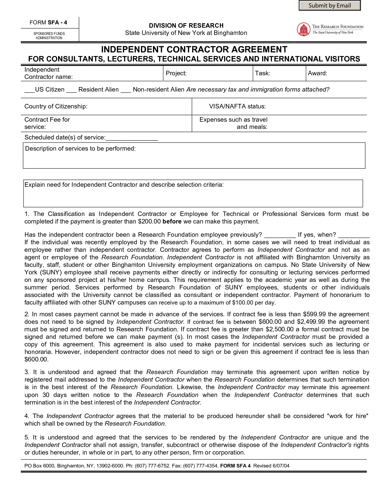 Independent Contractor Contract Forms By Sburnet2 Contract Forms
