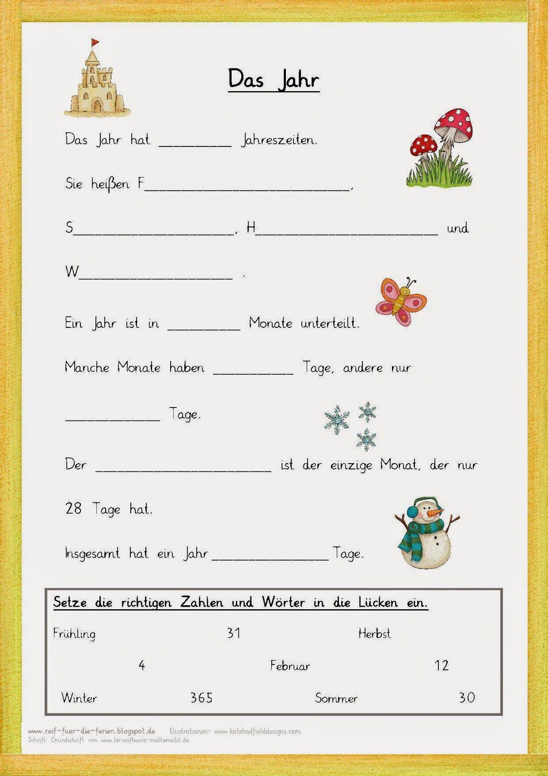 Lückentext zum Jahr | GS HSU 1. Klasse | Pinterest | Schule, Deutsch ...