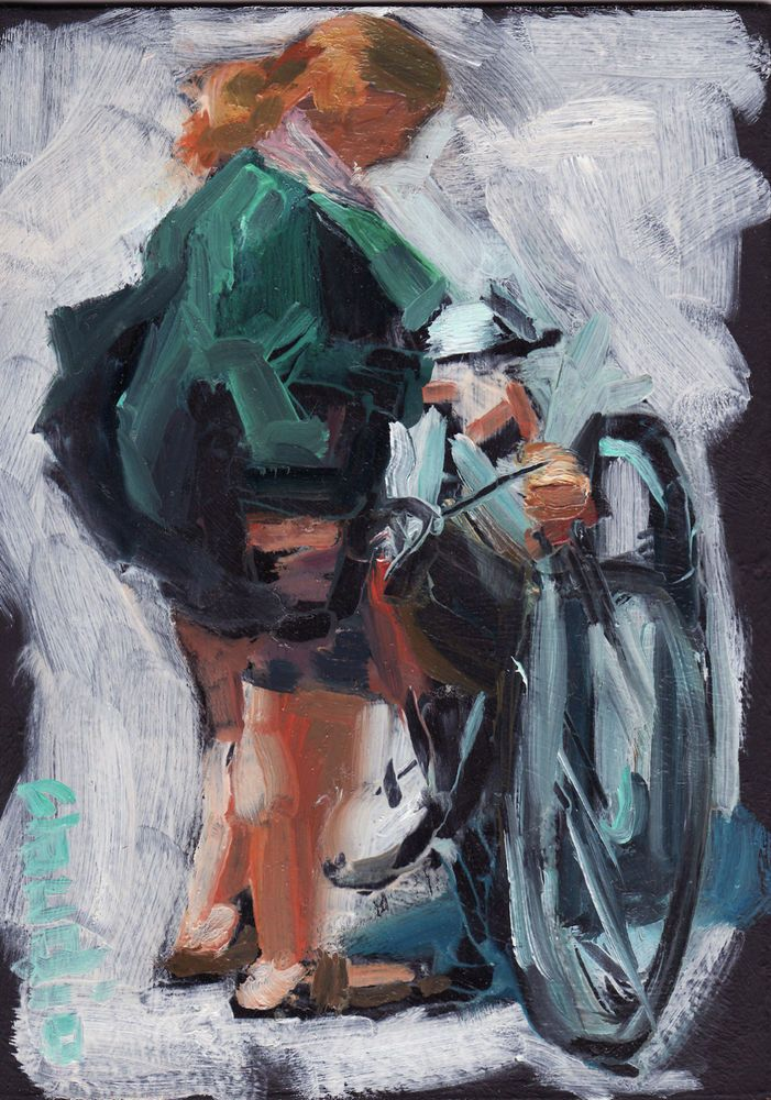 Original Oil Painting 5x7 Modern Art Street Scene SUSAN'S COMMUTE bike signed NR