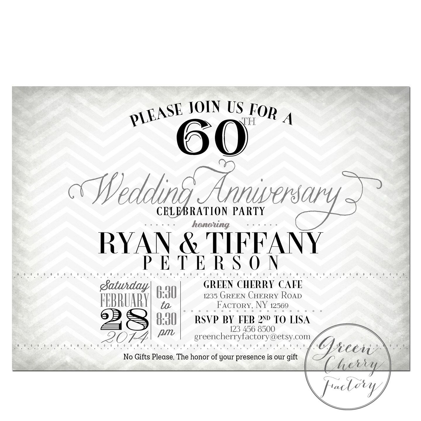 60th Wedding Anniversary Invitation Black & by GreenCherryFactory