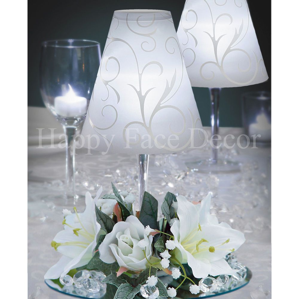 champagne decorations wedding 12 centerpieces wine glass lamp shade silk flower rings 2543