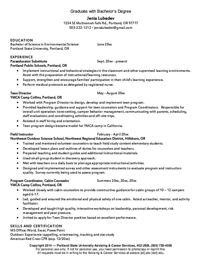 Sample Graduate Degree Resume Examples Resume CV