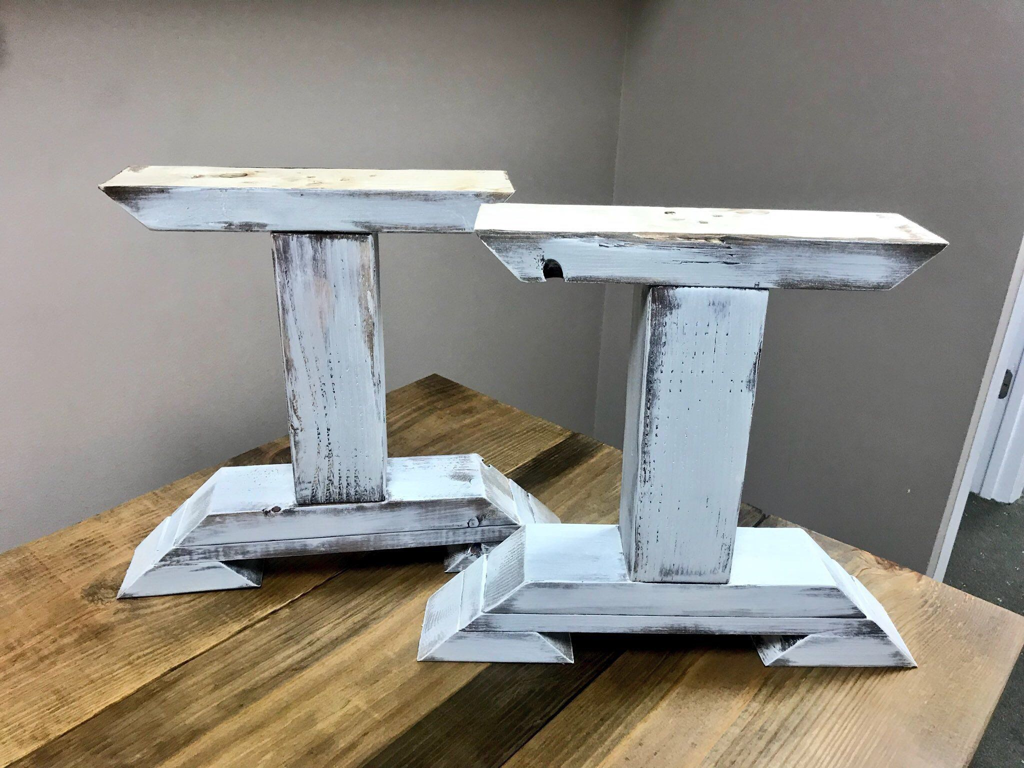 Diy Bench Leg Set Antique White Distressed Trestle Style Etsy Diy Table Legs Farmhouse Table Legs Wood Table Legs