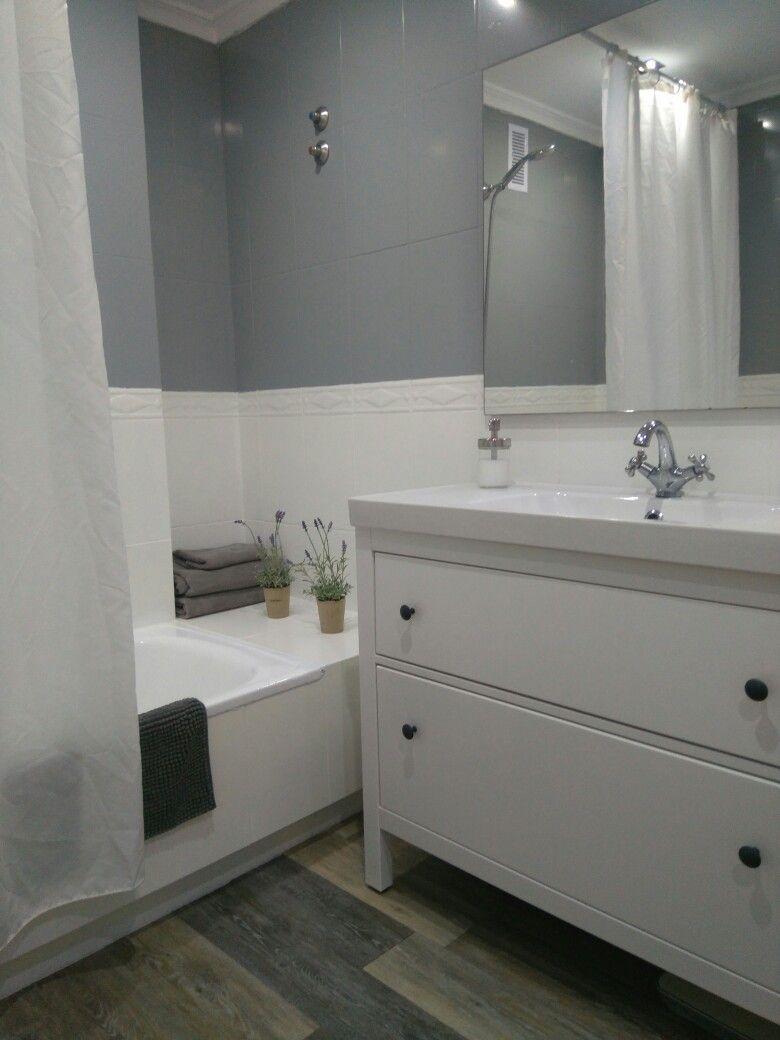 Baño terminado por fin,mueble de Ikea y azulejos pintados ...