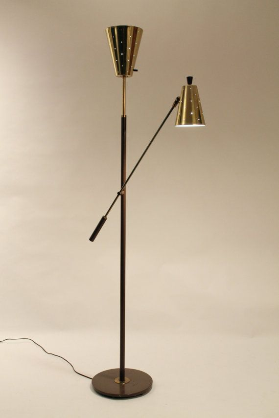 Vintage LIGHTOLIER Floor Lamp, RARE GERALD THURSTON lightolier floor lamp mid century
