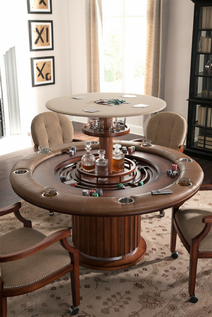 Genial Poker Table With A Rising Bar Hidden In The Middle