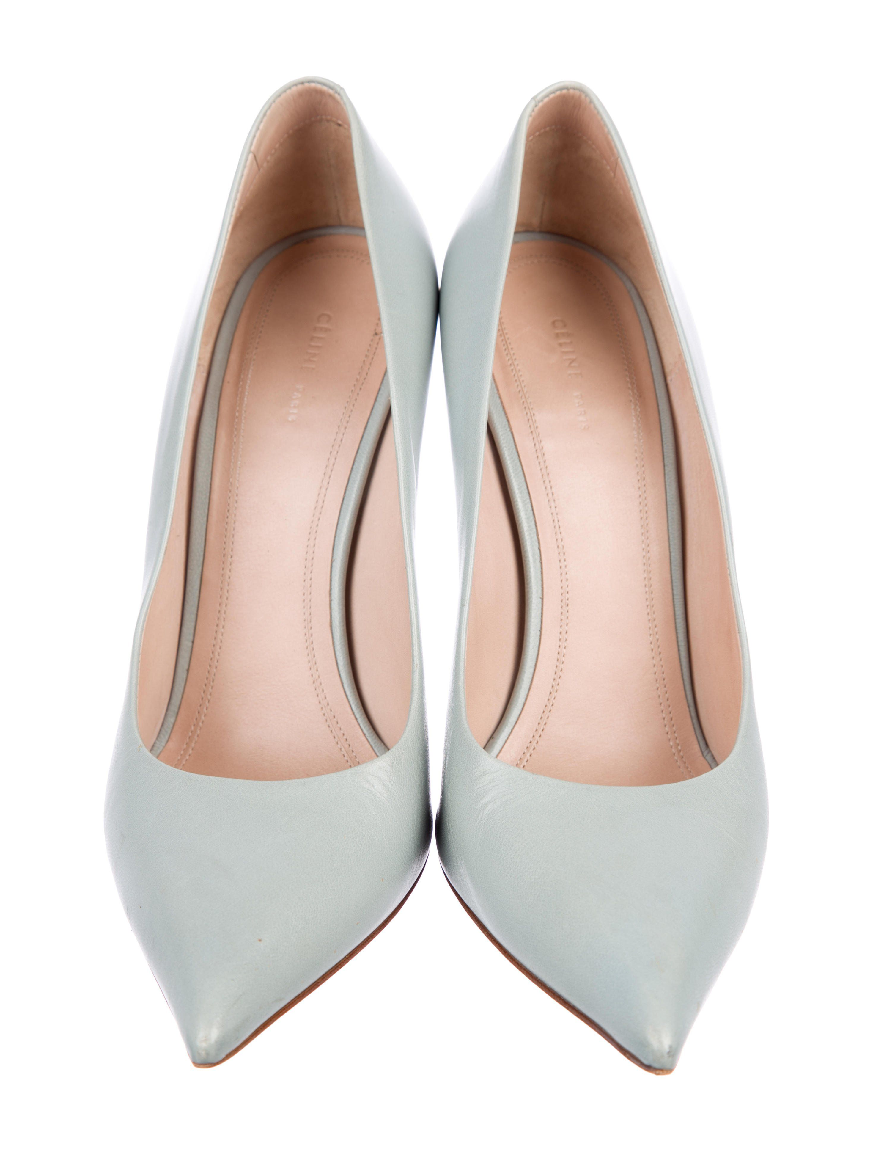 b971afa1739c Seafoam leather Céline pointed-toe pumps with tonal stitching and covered  heels.