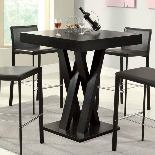 Modern 40 Inch High Square Dining Table In Dark Cappuccino Finish Barnye Stoly Vintazhnaya Mebel V Industrialnom Stile Nozhki Stolov