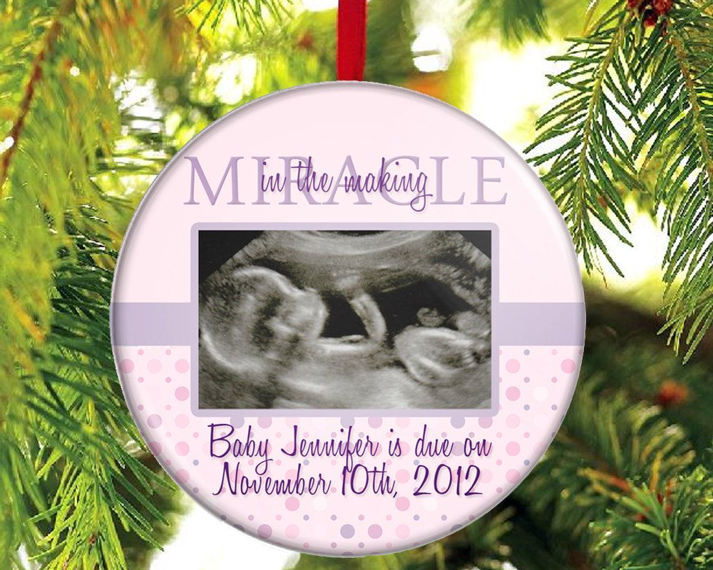 Expecting A Baby Girl Ornament - WITH YOUR PHOTO - Ultrasound ...