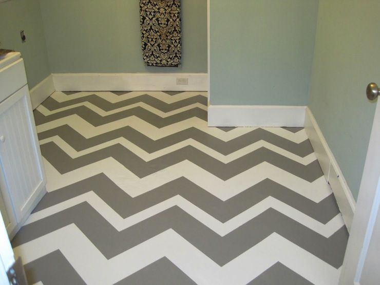 Blue Hydrangea Fantastic Basement Laundry Room With Gray And White Painted Concrete Floors In Chevron