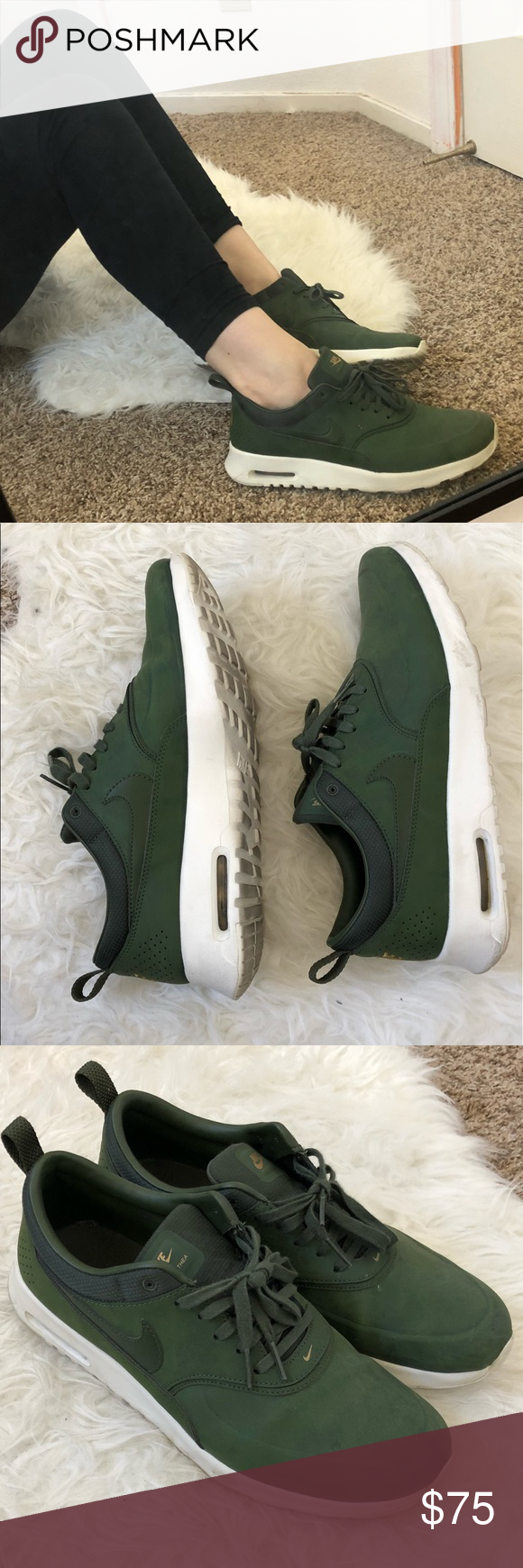 timeless design 471f1 e1f20 Hunter green Nike air max Thea Lightly worn, green Nike air max thea s with  gold embroidery. Nike Shoes Sneakers