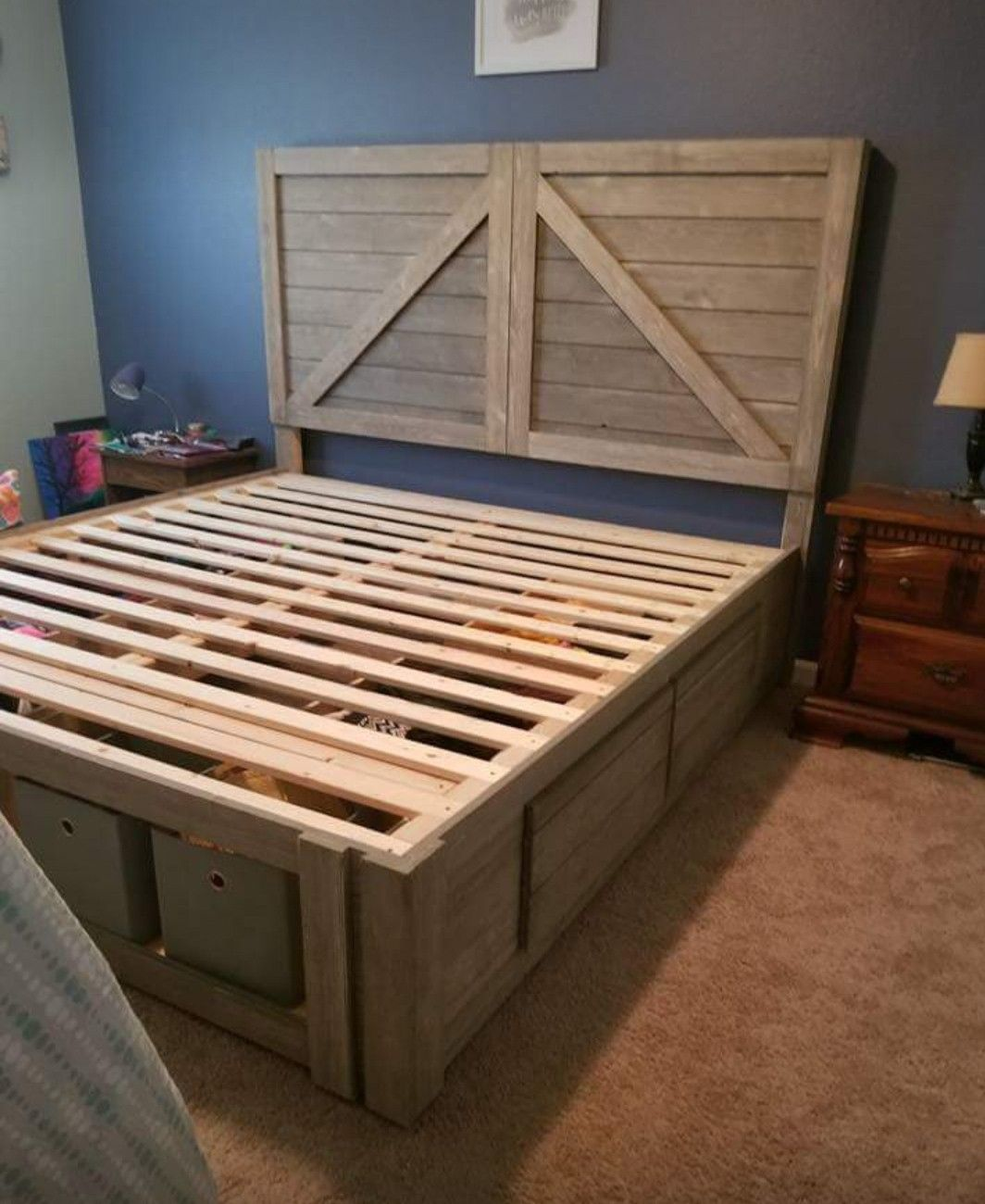 Farmhouse style bed frame and headboard (With images