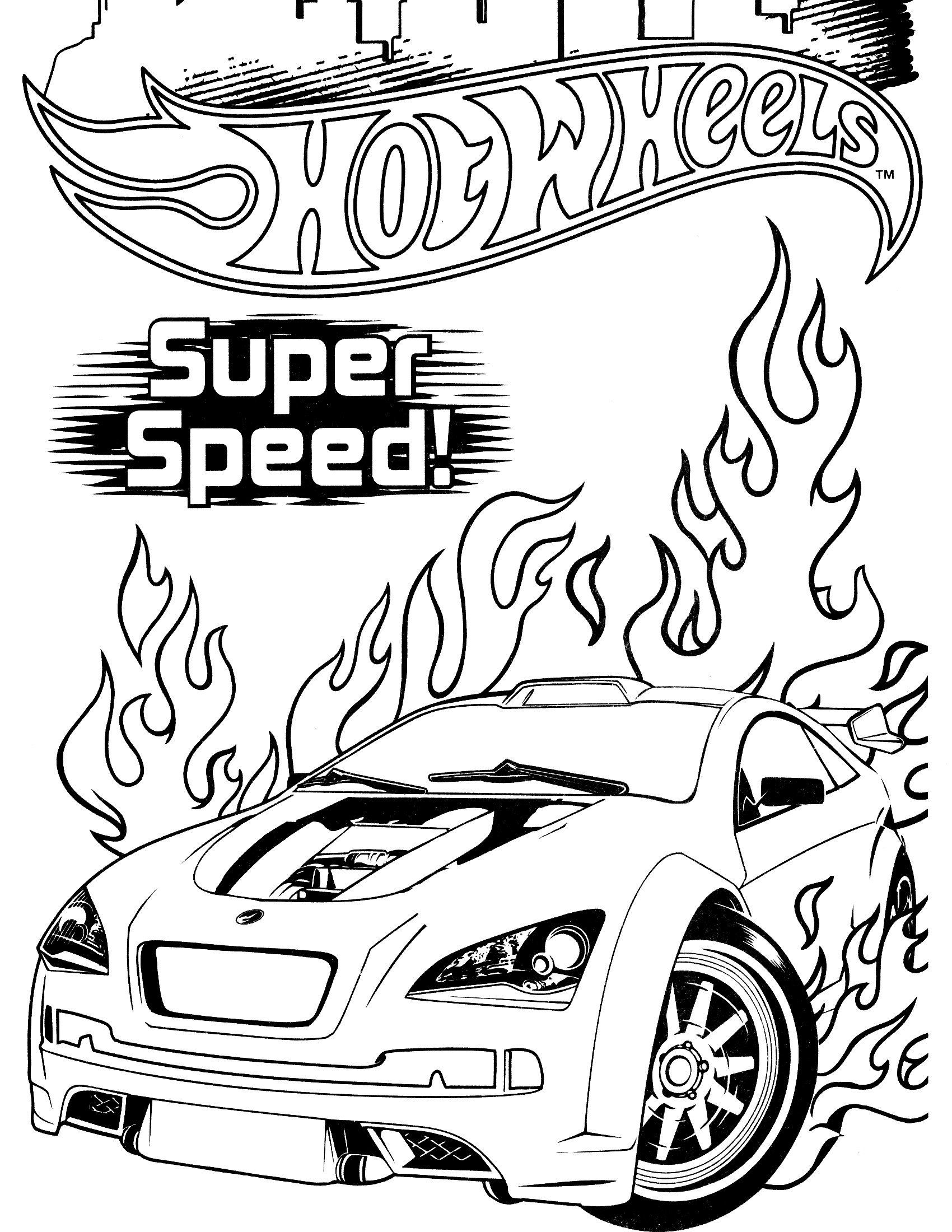 Race Car Coloring Pages Super Speed Hot Wheels Racing Car