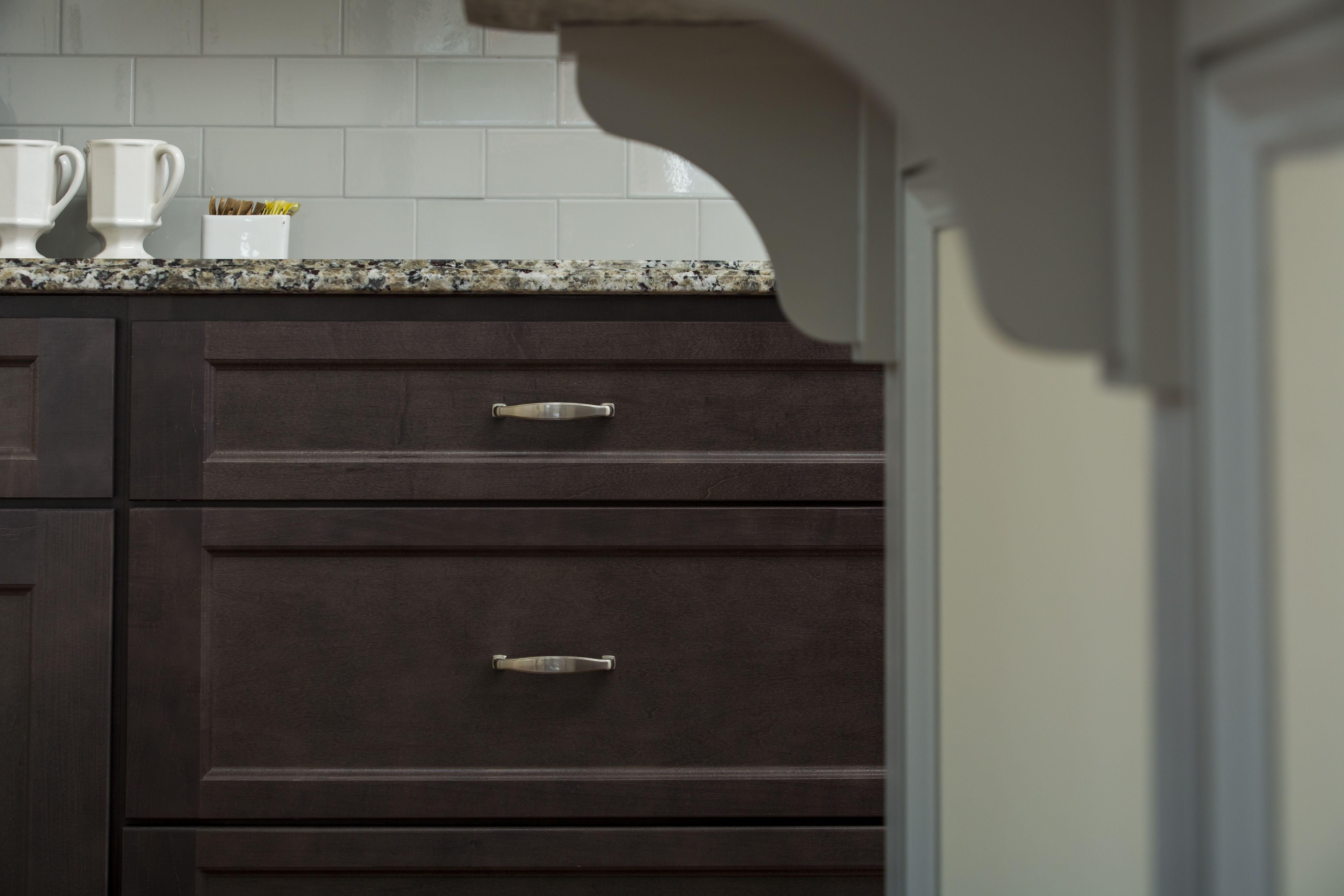 View Of The Wolf Classic Line Of Cabinets Using The York Door Style In A Dark Grey Sta Kitchen Decor Modern Elegant Kitchen Design Kitchen Cabinets In Bathroom