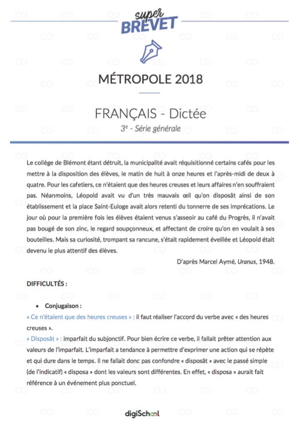 Corrigé de la Dictée du Brevet 2018 - Français | Brevet des collèges, Brevet 2018
