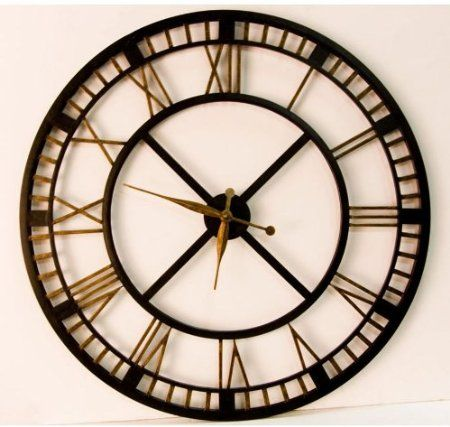 Large Black Wall Clock amazon: large wall clock - large iron wall clock with roman