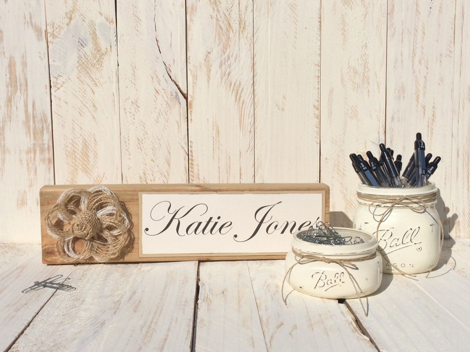 Wooden Desk Name Plate, Office Desk Set, Office Storage, Rustic ...