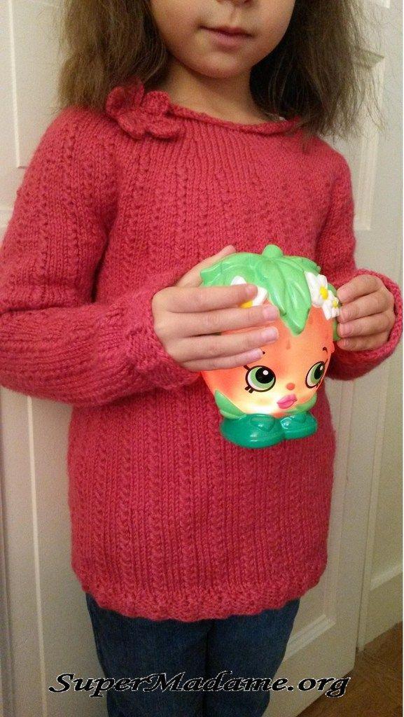 1e30211a63288 Un modèle gratuit tricot facile (pull fille 6 ans)