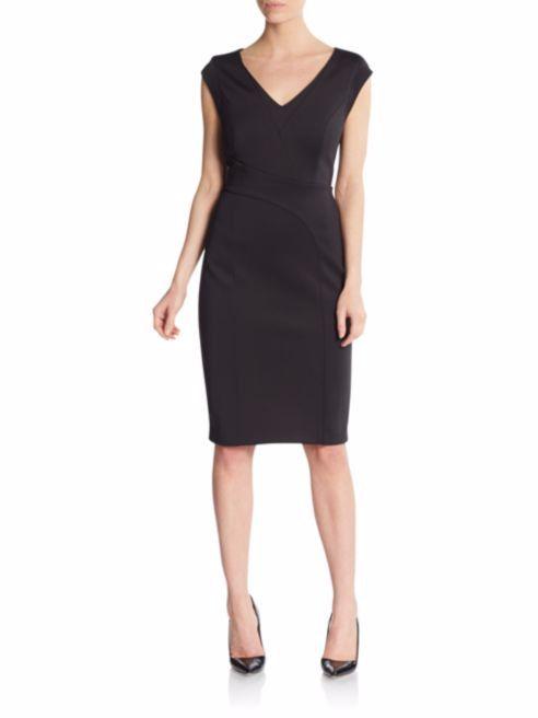 Karl Lagerfeld Little Black Dress V Neck Cap Sleeve Fitted 8 Stretch