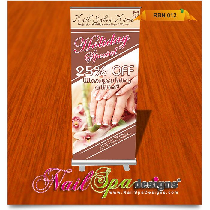 Roll Up Banner Template For Nail Salon Visit NailSpaDesigns