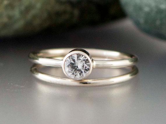 14k White Gold and Moissanite Wedding Ring Set Thin Engagement