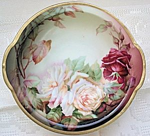 Antique Hand Painted Signed Bowl Lush Victorian Roses