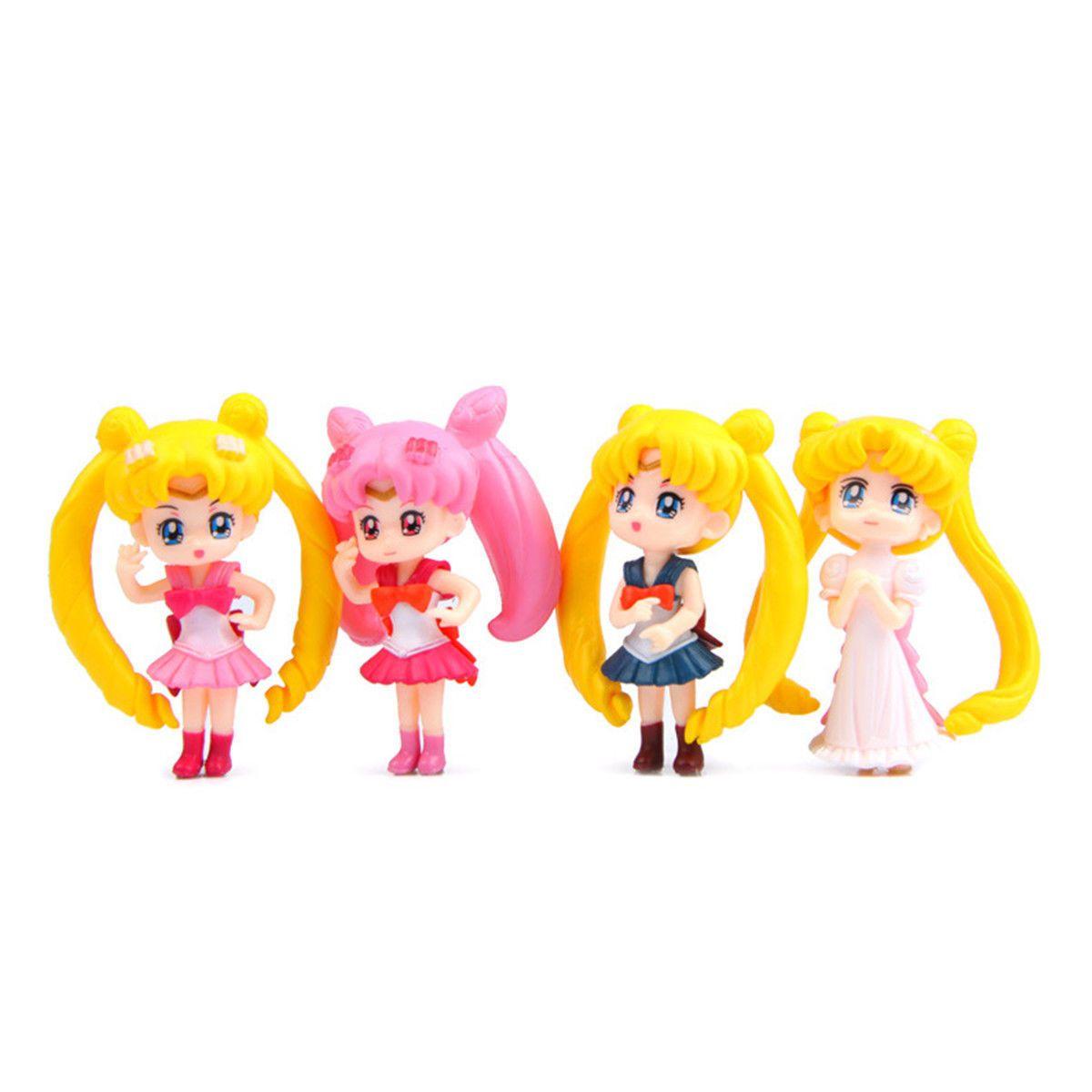 4pcs//set Anime Sailor Moon PVC Figures Figurine Model Toys