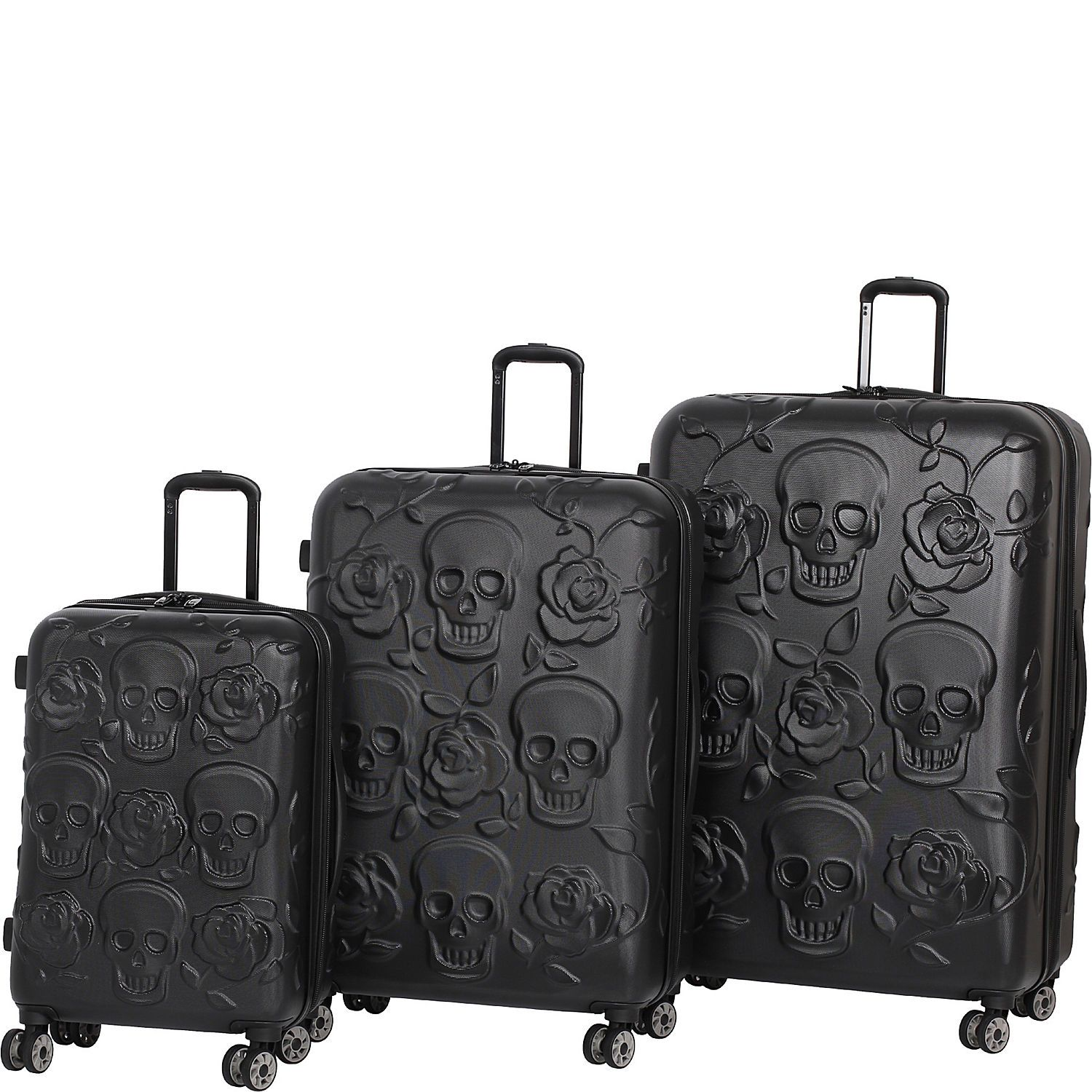 Buy the IT Luggage Skull Emboss 3 Piece Spinner Luggage Set at ...
