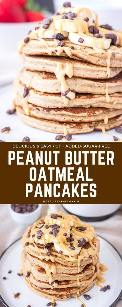 Peanut Butter Oatmeal Pancakes - Delightfully fluffy & delicious!