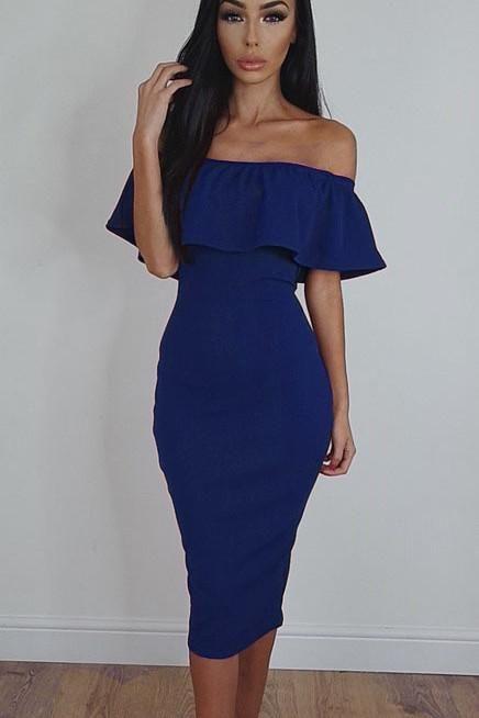 54588f36239 Off Shoulder Ruffle Solid Sheath Knee-length Dress