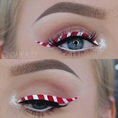 """""""Candy-Cane""""-Eyeliner: das zuckersüße Augen-Make-up"""