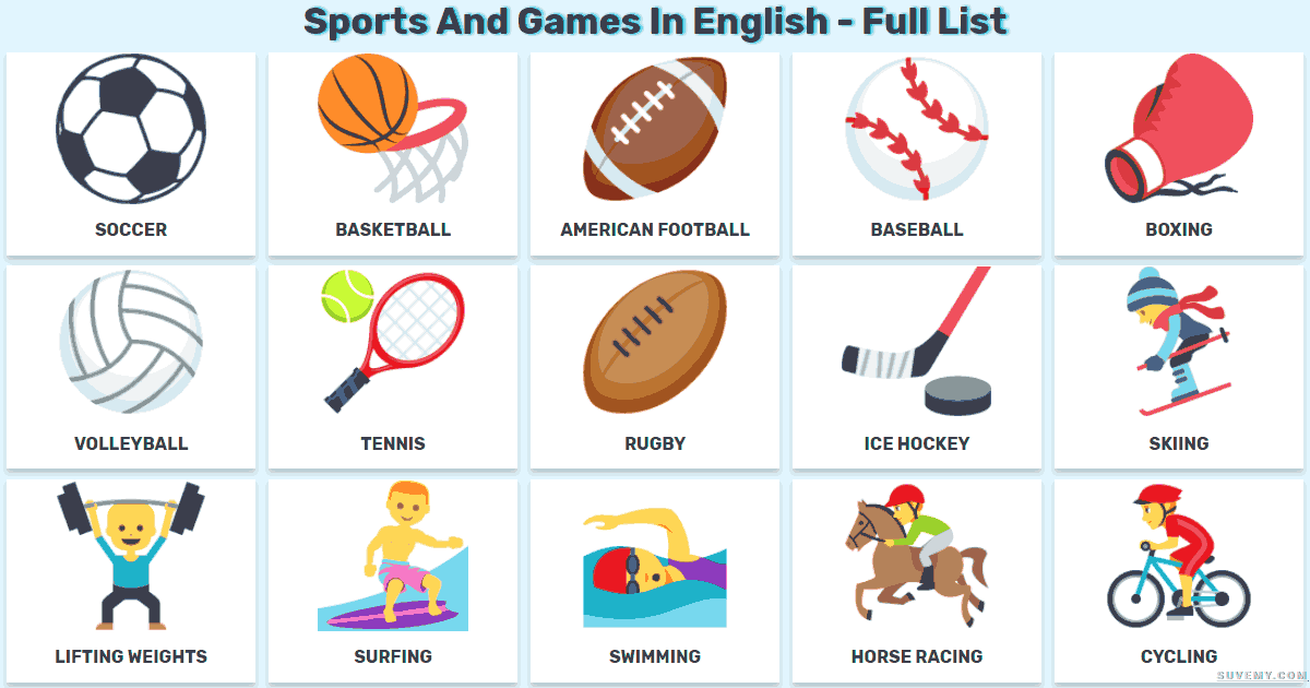 Sports And Games In English Vocabulary Of Sports English Sport English English Games English Vocabulary