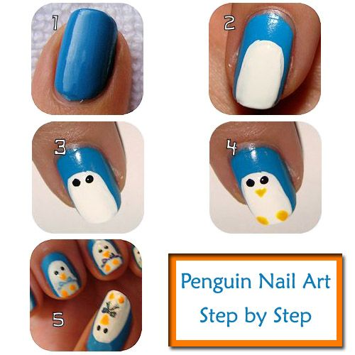 3d Acrylic Nail Art Step By Step: Penguin Nail Art Design Step By Step Instructions