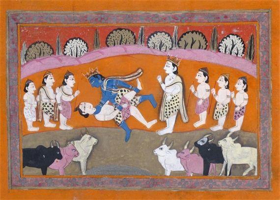 Indian School, 19th Century, Krishna in combat