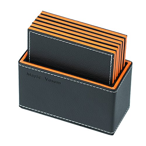 Magic Vosom Multi Layer Complex Faux Leather Drink Coaster Cup Mat Black And Orange Set Of 6 Best Offer Ineedthebestoffer Com In 2020 Drink Coasters Cup Mat Multi Layering