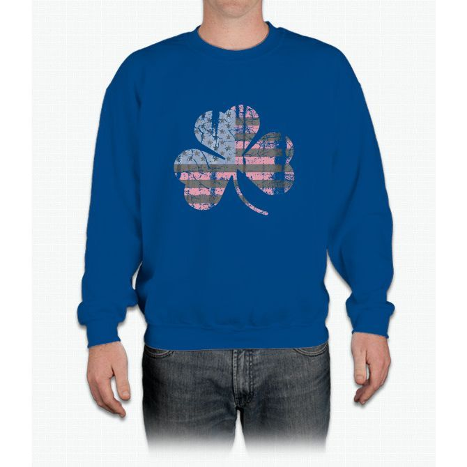 Irish American Flag Shamrock Crewneck Sweatshirt
