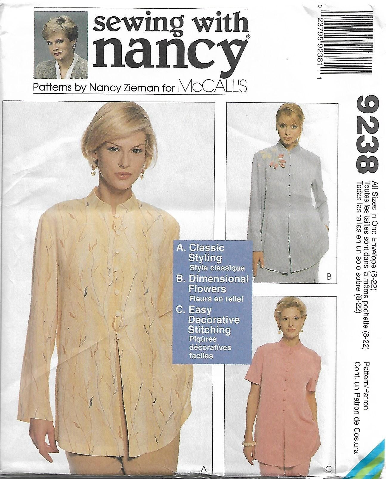 Mccalls 9238 size 8 22 sewing with nancy classic styling mccalls 9238 size sewing with nancy classic styling dimensional flowers easy decorative stitching misses top sewing pattern 1998 uc by jeuxipadfo Image collections