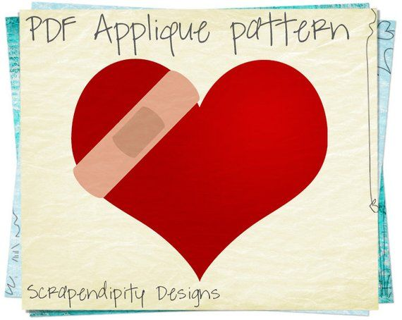 Bandaid heart applique pattern healing applique template heart