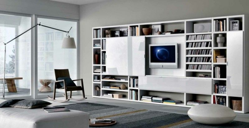 MisuraEmme Futuristic Furnitures For Modern Living Room Designs White  Sliding Door TV Cabinets With Bookshelves For Contemporary Living Spaces By  Misura ...