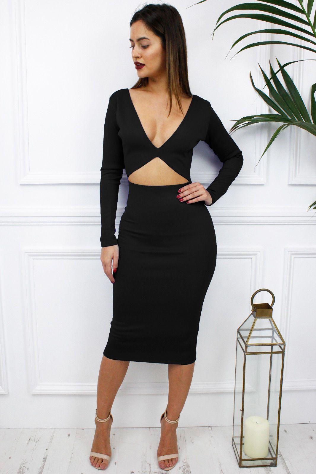Glamzam womens ladies black reversible long sleeve midriff midi